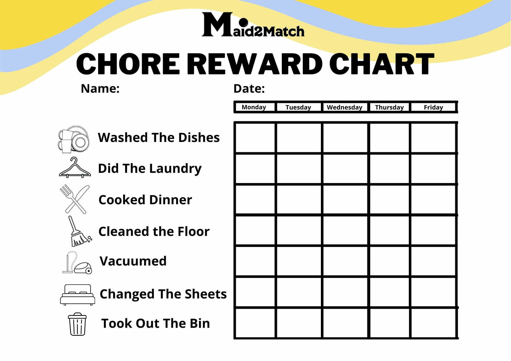 Reward chart for completing different household chores